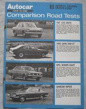 AUTOCAR road test featuring Ford Capri, Fiat, Opel Rekord, Sumbeam Rapier