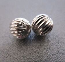 Sterling Silver Round Corrugated Bead Spacer 10mm 2pcs