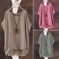 Women Summer T-Shirt Casual Loose Blouse Shirt Batwing Sleeve Asymmetrical Tops