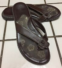 b.o.c. BORN Brown Leather Look thong flip flop casual sandals Womens 9 M 40.5