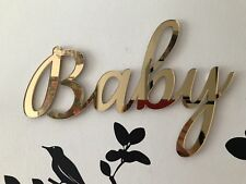 Personalised Gold Silver Acrylic Mirror Name Sign Baby Shower Decor 30 cm
