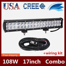 17inch 108w LED Work Light Bar Combo Beam Offroad Driving Light+Wiring Kit