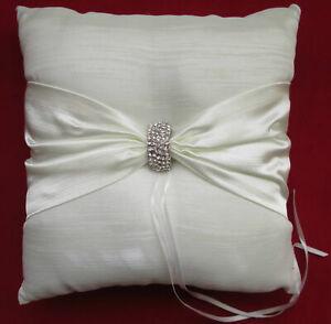 Wedding Ring Bearer Pillow Bridal Ivory Diamonte Sash Tie Rings Cream Sparkle