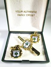 Gold Tone Cufflinks and Tie Clip with O'Connor Coat of Arms