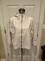 Eileen Fisher Ceramic White Cotton/Hemp Blend Hooden Zip-Up Jacket, Size M