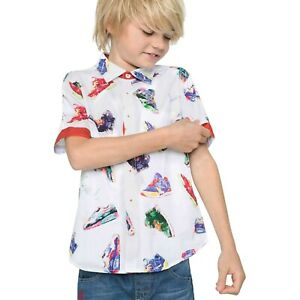 Desigual Boys White Shirt with Sport Trainers Shoes Print 11 12 13 14 years
