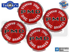 Red PMD 2-7/16 Disc Brakes Wheel Cover Hub Cap Emblem USA MADE - Set of 4