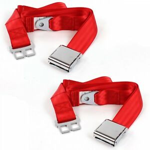Chevy Chevelle 1968 - 1972 Airplane 2pt Red Lap Bucket Seat Belt Kit - 2 Belts