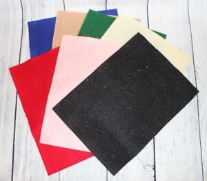 "Felt Sheets 9"" x 12"" Lot of 7 Blue Tan Green Red Pink Black Yellow Uncut"