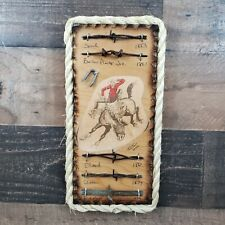 Antique Barbed Wire Display Authentic Barbwire Collection with Cowboy Cartoon