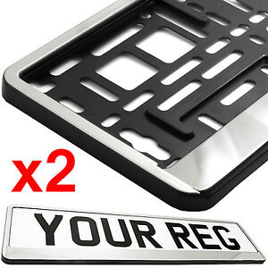 2x CHROME FRONT Car Number Plate Surround Holder FOR ANY CAR TRUCK VAN TRAILER