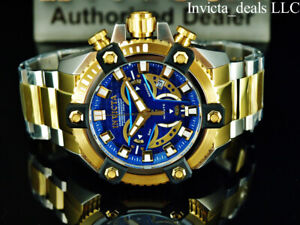 Invicta Men's 63mm GRAND ARSENAL Swiss Chronograph BLUE DIAL Gold Two Tone Watch