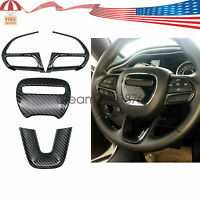 Steering Wheel Cover Decor Trim For Dodge Durango 2015-2020 Carbon Fiber ABS