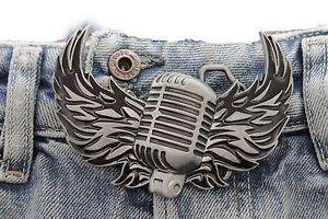 Men Women Silver Buckle Western Hip Hop Radio Music Microphone Fire Wings Rocker