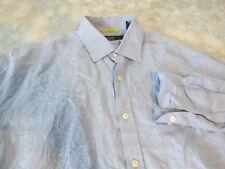 Nat Nast Sz M Blue Linen Embroidered Long Sleeve Men's Shirt