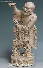 "17"" China Dehua White Porcelain Stand Rohan Arhat Damo Bodhidharma Buddha Statue"