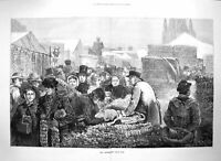 Original Old Antique Print 1872 Birmingham Onion Fair Market Industry Fine Art