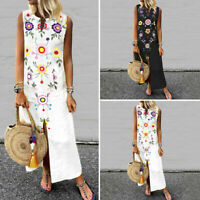 Summer Women Kaftan Floral Strappy Plain Club Party Dresses Long Dress Sundress