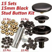 64Pcs 15mm Black Press Studs Snap Popper Fastener Sewing Leather Craft Buttons