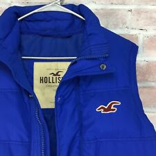 Hollister Down Puffer Vest Men's S Blue Quilted Feather VTG Retro Puffy 90s EUC
