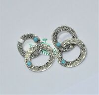 Natural Turquoise Cabochon 925 Sterling Silver Jewelry Wedding Earring