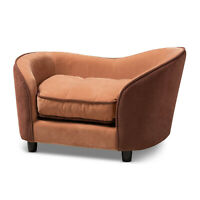 Pet Dog Cat Bed Sofa Chaise Luxury Chic Light And Dark Brown Velvet Fabric