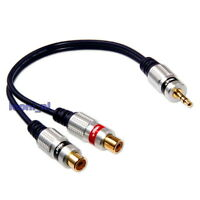 Jack 3.5mm male to 2x RCA Phono female Cable Adapter Plug Twin Socket Stereo 2
