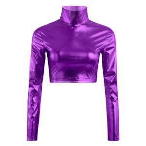 Women's Metallic Mock Neck Shiny Wet Turtleneck Crop Top ballet Dance costume