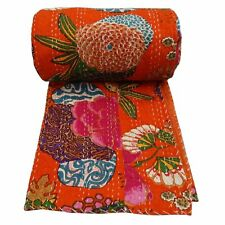 Indian Handmade Quilt Cotton Floral Print Reversible Kantha Pattern Queen Size