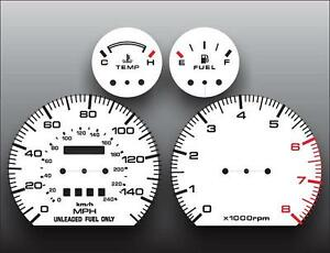 1988-1991 Mazda MX6 626 Dash Cluster White Face Gauges 88-91