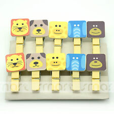 10PCS Animal Head Wood Clips Photo Paper Pegs Clothespin Craft Decoration 1 Set