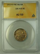 1914-D US Buffalo Nickel 5c Coin *Key Date* ANACS AU-53 (Better)