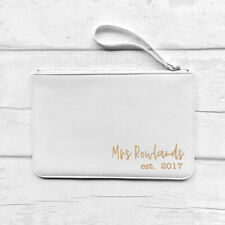 Personalised Faux Leather Clutch Bag Pouch,Mrs Name, White/Pink/Black, Bride