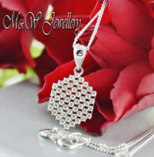 Solid 925 Silver Rhodium Plated Necklace Pendant HEXAGON With Clear Zirconia