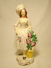 """Staffordshire Figurine of Lady with Flower Basket Figure Statue 9"""" h mid 19th c"""