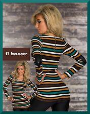 t-shirt lunga riga multicolore inserto ecopelle gomito tg s/m(40-42); m/l(42-44)