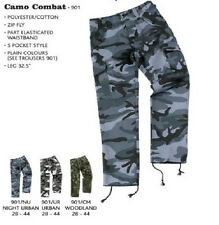 Mens Blue Castle Camouflage Camo Combat Workwear Work Cargo Army Trousers Pants