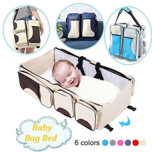Multifunctional Baby Diaper Bag Portable Folding Crib Large Capacity Baby Bag ON
