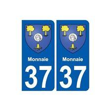 37 Monnaie ville autocollant plaque stickers droits