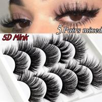 5 Pairs Mink Hair False Eyelashes Wispy Fluffy Long Natural Eye Lashes