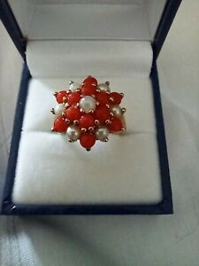 Vintage 9ct Gold, Red Coral & Seed Pearl Ring, 9ct Gold, M.