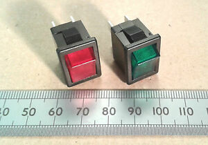 Small DPST Illuminated Mains Neon Rocker Power Switch 6A 250 VAC Red or Green