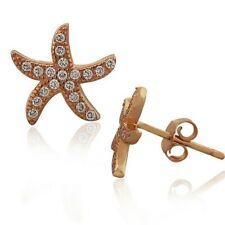 Sterling Silver Rose Gold White Crystals Starfish Womens Girls Stud Earrings