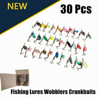US Lot 30pcs Minnow Fishing Lures Assorted Lure Bass Crank Bait Tackle Hooks