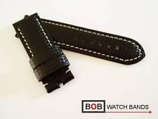Bob echtlederuhrband carbon negro con costura blancos para breitdornschliesse 26 mm