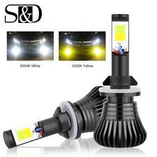 2x White/Yellow LED Light 880/881 899 COB Bulb Dual Color Kit Car Fog DRL Lights