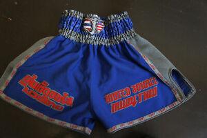 NEW Vtg Muay Thai Shiny Satin Boxing Shorts Kickboxing USMT Sz M       p28