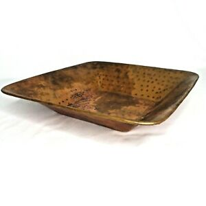 Square Copper Fruit Bowl Decorative Centerpiece Console Dish Basin 12 in