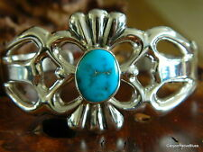 NEW Sterling Silver Turquoise Navajo Cuff Bracelet Signed FRANCIS TABAHA