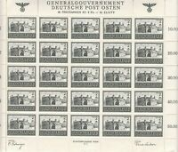Stamp Germany Poland General Gov't Mi 113 Sheet 1943 WWII 3rd War Castle MNH